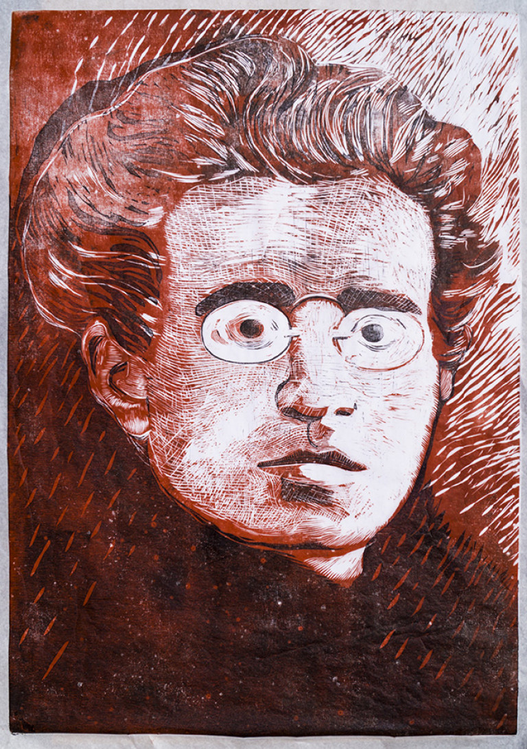 Flavio Cossovel-Gramsci I-70x50cm-Relief (Xylography)-2018